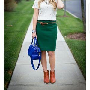 J. Crew Wool Green Pencil Skirt